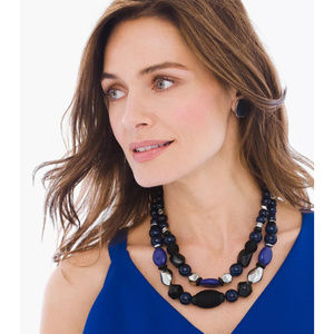 CHICO'S SAYLOR DOUBLE STRAND NECKLACE BEADS BLUE
